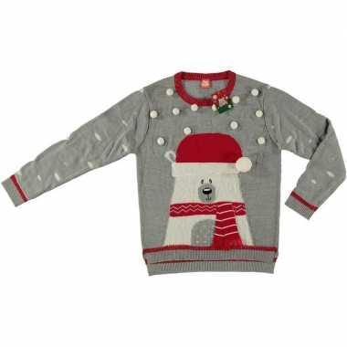 Goedkope grijze kerstmis trui ijsbeer voor dames