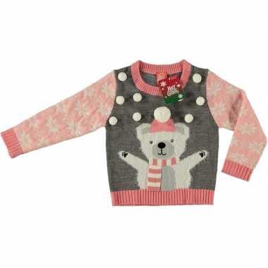 Goedkope grijze kerstmis trui ijsbeer voor meisjes maat 140/146