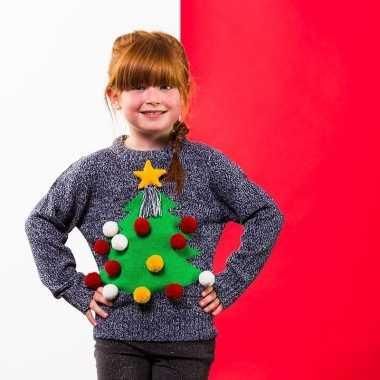 Goedkope grijze kindertrui voor kerst met kerstboom