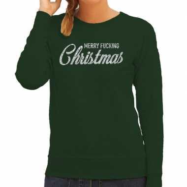 Goedkope groene foute kersttrui / sweater merry fucking christmas met zilveren letters voor dames