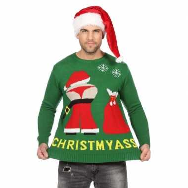Goedkope groene trui voor kerst met mooning kerstman
