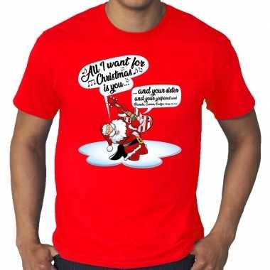 Goedkope grote maat kerstrui rood kerstman die gitaar speelt en zingt voor heren