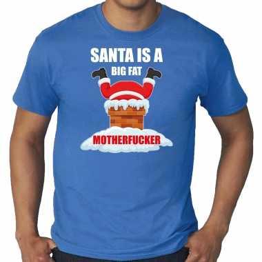Goedkope grote maten fout kersttrui / outfit santa is a big fat motherfucker blauw voor heren