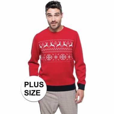 Goedkope grote maten foute rode kersttruien scandinavische print voor