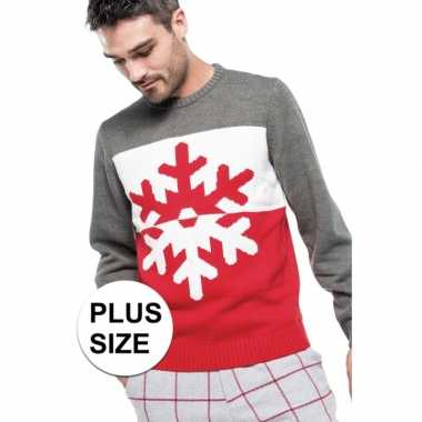Goedkope grote maten foute rood/grijze kersttruien sneeuwvlok print v