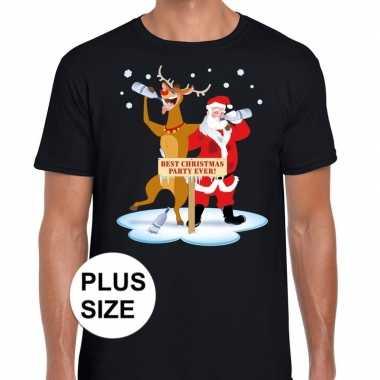 Goedkope grote maten kerst t trui dronken kerstman en rudolf zwart