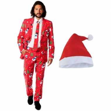 Kersttrui Xl.Goedkope Heren Opposuits Kerst Kostuum Rood Met Kerstmuts Maat 52
