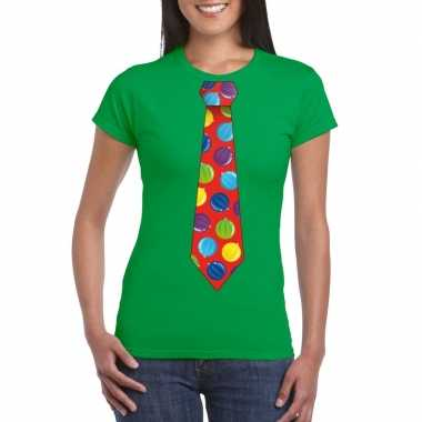Goedkope kerst t trui stropdas met kerstballen print groen voor dames