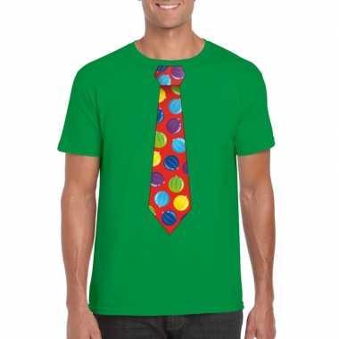 Goedkope kerst t trui stropdas met kerstballen print groen voor heren