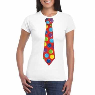 Goedkope kerst t trui stropdas met kerstballen print wit voor dames