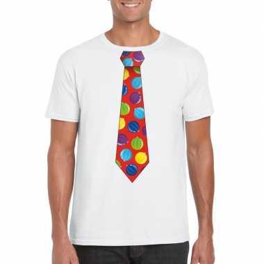 Goedkope kerst t trui stropdas met kerstballen print wit voor heren