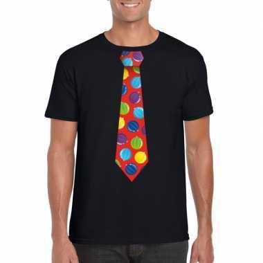 Goedkope kerst t trui stropdas met kerstballen print zwart voor heren
