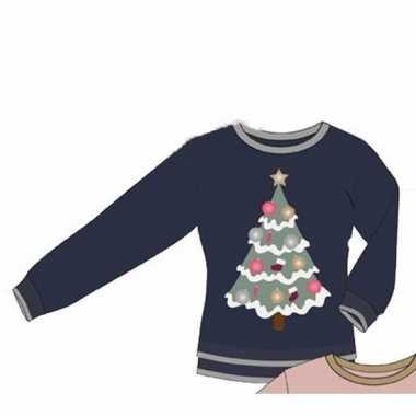 Goedkope kerstmis blauwe damestrui met kerstboom