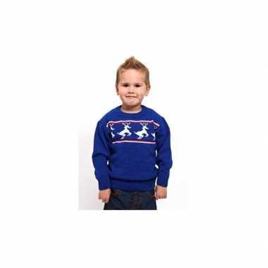 Goedkope kerstmis kinder trui blauw met rendieren