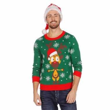 Goedkope kerstmis trui groen met rendier voor mannen