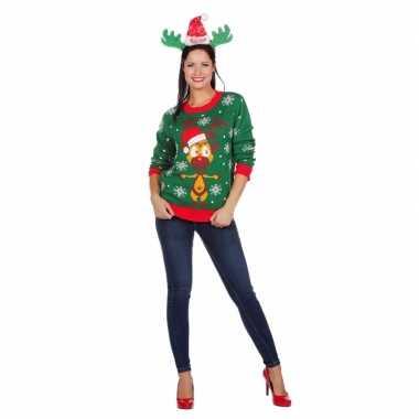 Goedkope kerstmis trui groen met rendier voor vrouwen