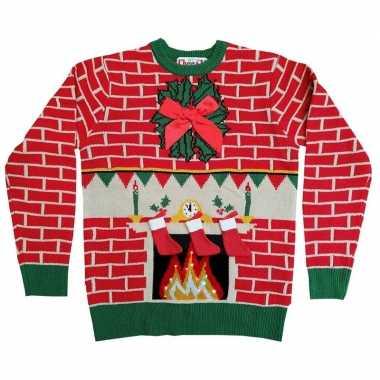 Goedkope kerstmis trui met openhaard en lichtjes