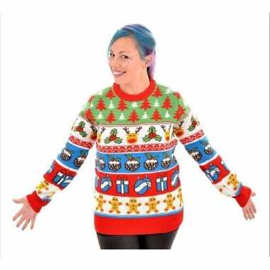 Goedkope kerstmis trui met rendieren en kerstbomen