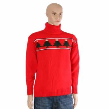 Goedkope kerstmis trui rood met kerstbomen