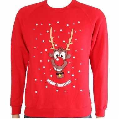 Goedkope kerstmis trui rood met rendier