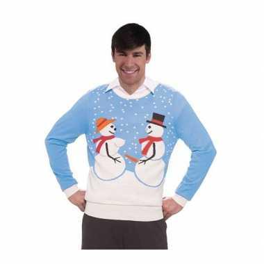 Goedkope kerstmis trui sneeuwman koppel