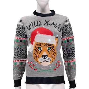Goedkope kerstmis trui wild x mas met licht