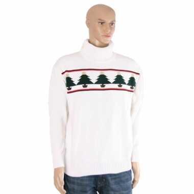 Goedkope kerstmis trui wit met kerstbomen