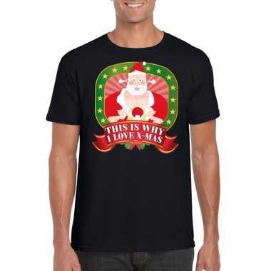 Goedkope kerstmis trui zwart this is why i love x mas player kerstman