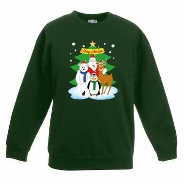 Goedkope kersttrui kerst vriendjes groen kinderen
