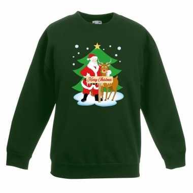 Goedkope kersttrui kerstman en rendier groen kinderen