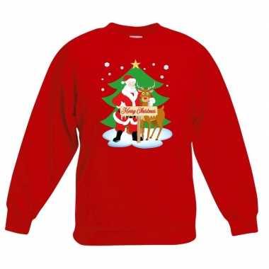 Goedkope kersttrui kerstman en rendier rood kinderen