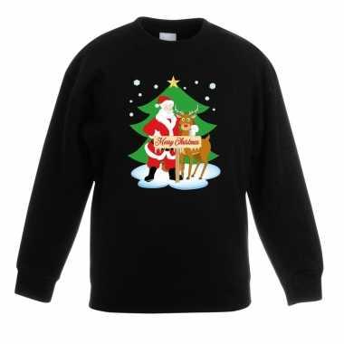Goedkope kersttrui kerstman en rendier zwart kinderen
