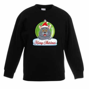 Goedkope kersttrui merry christmas grijze kat / poes kerstbal zwart k