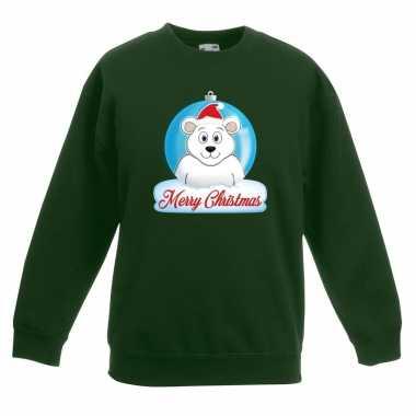 Goedkope kersttrui merry christmas ijsbeer kerstbal groen kinderen