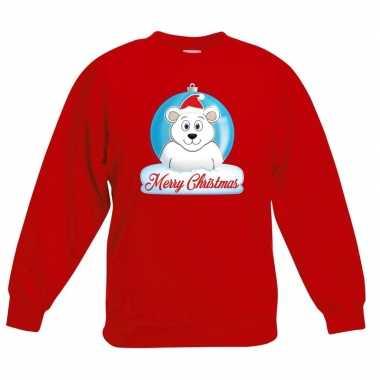 Goedkope kersttrui merry christmas ijsbeer kerstbal rood kinderen