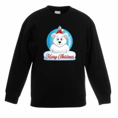 Goedkope kersttrui merry christmas ijsbeer kerstbal zwart kinderen