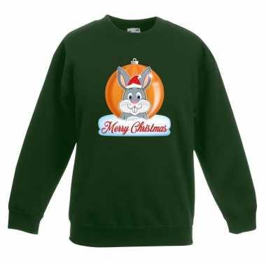Goedkope kersttrui merry christmas konijn kerstbal groen kinderen