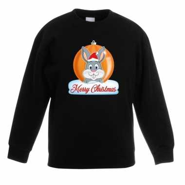 Goedkope kersttrui merry christmas konijn kerstbal zwart kinderen