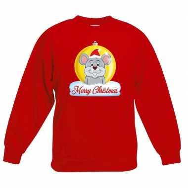Goedkope kersttrui merry christmas muis kerstbal rood kinderen