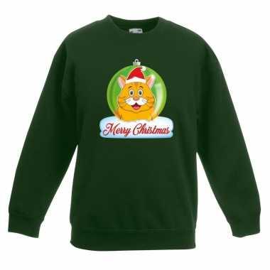Goedkope kersttrui merry christmas oranje kat / poes kerstbal groen k