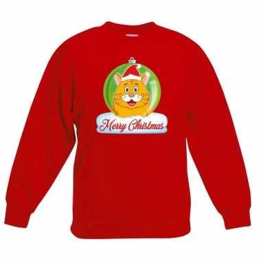Goedkope kersttrui merry christmas oranje kat / poes kerstbal rood ki