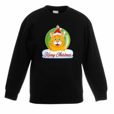Goedkope kersttrui merry christmas oranje kat / poes kerstbal zwart k