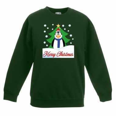 Goedkope kersttrui merry christmas pinguin groen kinderen