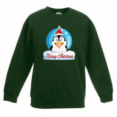 Goedkope kersttrui merry christmas pinguin kerstbal groen kinderen