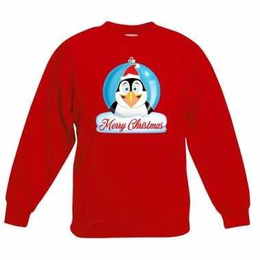 Goedkope kersttrui merry christmas pinguin kerstbal rood kinderen
