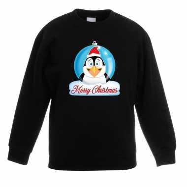 Goedkope kersttrui merry christmas pinguin kerstbal zwart kinderen