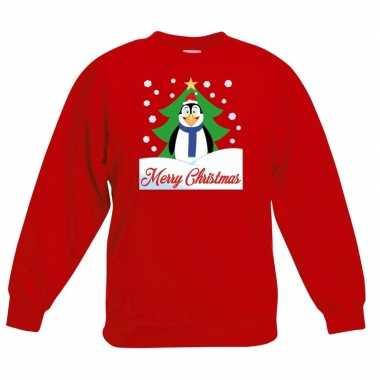 Goedkope kersttrui merry christmas pinguin rood kinderen
