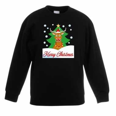 Goedkope kersttrui merry christmas rendier zwart kinderen