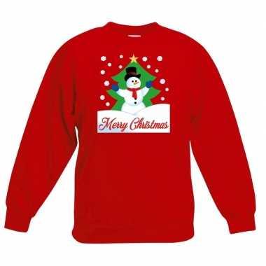 Goedkope kersttrui merry christmas sneeuwpop rood kinderen