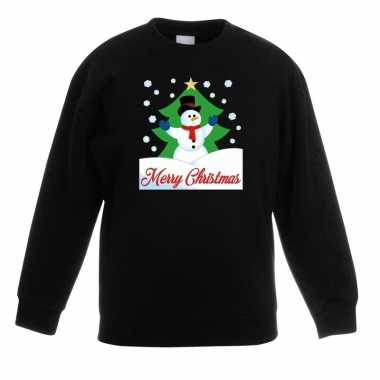 Goedkope kersttrui merry christmas sneeuwpop zwart kinderen